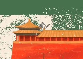彩色手绘故宫红墙装饰画