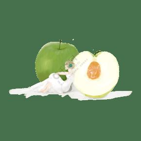 靠在梨上的女孩