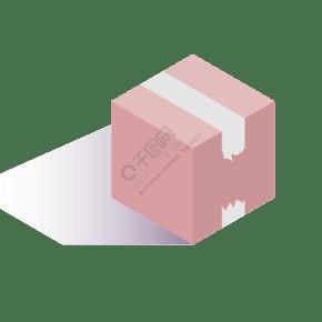 灰色立體創意膠帶密封箱子元素