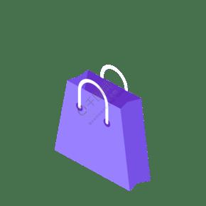 蓝色的购物袋子免抠图