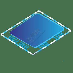 蓝色创意电脑芯片元素