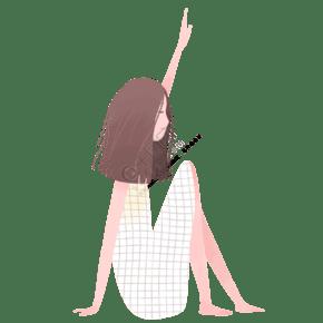 手繪卡通坐著的女孩免扣元素