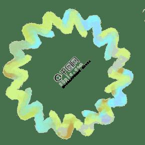 绿色花边水彩框