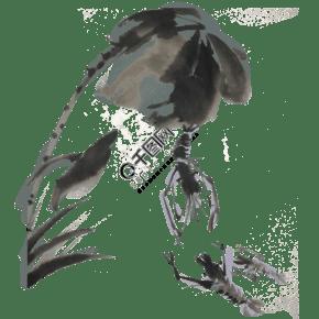 蝦手繪中國風水墨
