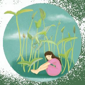 春天發芽少女插畫
