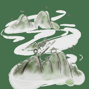 山顶上的亭子和飞鸟