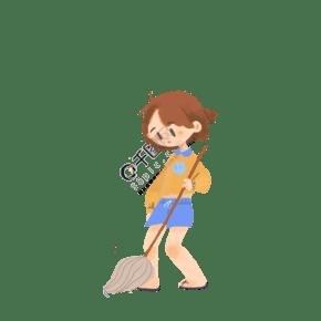 小女孩在掃地免摳圖
