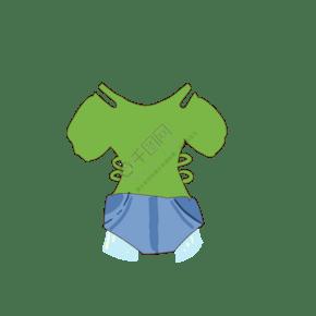 绿色花边上衣短裤夏日夏天牛仔裤免抠素材