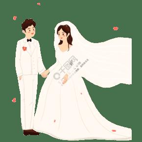 手繪一對新人結婚免摳圖