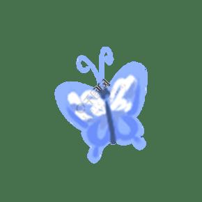 蓝色白色唯美好看蝴蝶