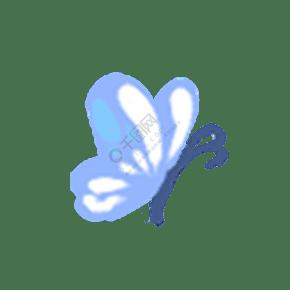 蓝色白色唯美手绘蝴蝶