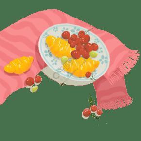 手繪ins風食物彩色插畫
