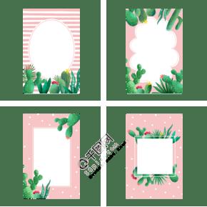 夏季仙人掌植物边框组图