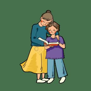 矢量免抠卡通可爱母亲节妈妈和女儿