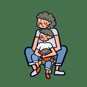 矢量免抠卡通可爱母亲节妈妈和儿子