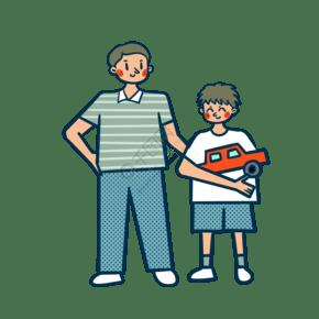 矢量免抠卡通可爱儿童节爸爸和儿子