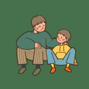 矢量免抠卡通可爱父亲节爸爸和儿子
