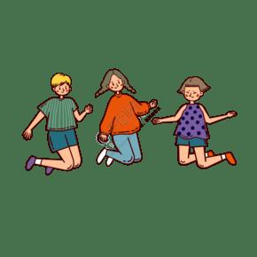 矢量免抠卡通可爱儿童节跳跃的小孩子