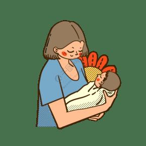 矢量免抠卡通可爱母亲节抱着孩子的妈妈