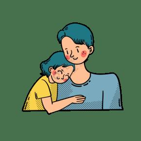 矢量免抠卡通可爱父亲节爸爸和女儿