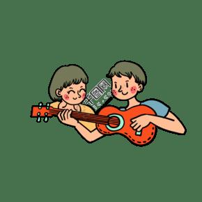 矢量免抠卡通可爱儿童节弹吉他的男孩