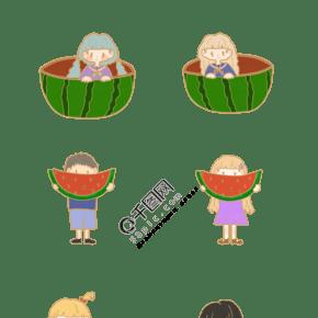 夏天吃西瓜情侣元素