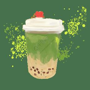 手绘红豆奶茶