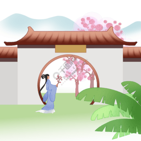 春園月門古典風景人物