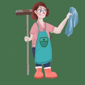 五一勞動節卡通手繪打掃衛生婦女