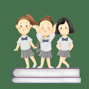 站在書上的女學生