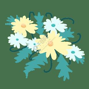盛开淡黄色菊花