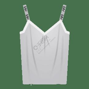 白色卡通吊带上衣