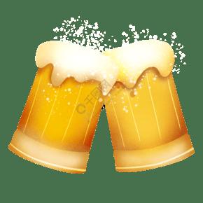 黃色碰杯啤酒