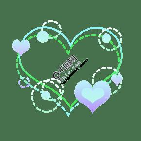 蓝色绿色爱心边框