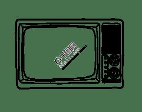 黑白电视机简笔