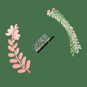 粉绿色花边边框