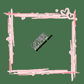 七夕浅粉色水粉手绘风格边框