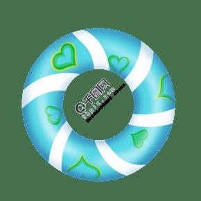 卡通绿色爱心泳圈