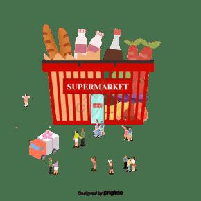 矢量创意有机食品超市