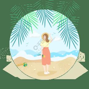 卡通夏季海灘椰子樹