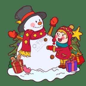 卡通圣诞树旁边的孩子们