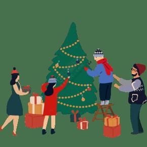 矢量卡通四口之家为圣诞节