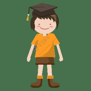畢業生與卡通人物畢業的學士帽