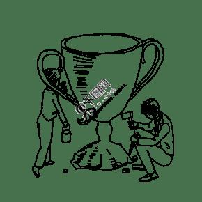 卡通奖杯奖牌
