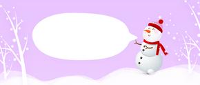 原创手绘雪人冬日背景图
