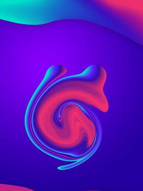渐变底纹蓝紫渐变流体背景海报