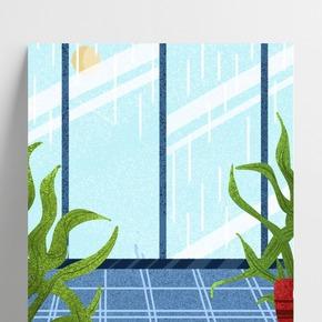 藍色創意窗戶風景背景