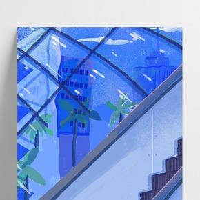 藍色創意商場電梯背景