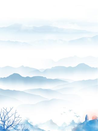 中国风蓝色水墨背景素材