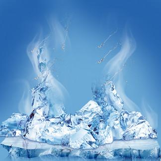 冰爽一夏冰块夏日冰饮PSD分层主图背景